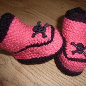 SKULL BABY BOOTIES, HAND KNITTED 0-..