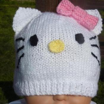HAND KNITTED BABY KITTY HAT 0-3 MONTHS